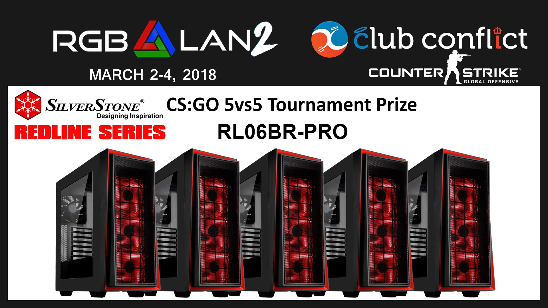 Win SilverStone Technology RL06-BR-PRO windowed ATX cases at RGB LAN 2018