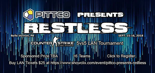 PITTCO Restless 5vs5 CS:GO Tournament hosted by Club Conflict